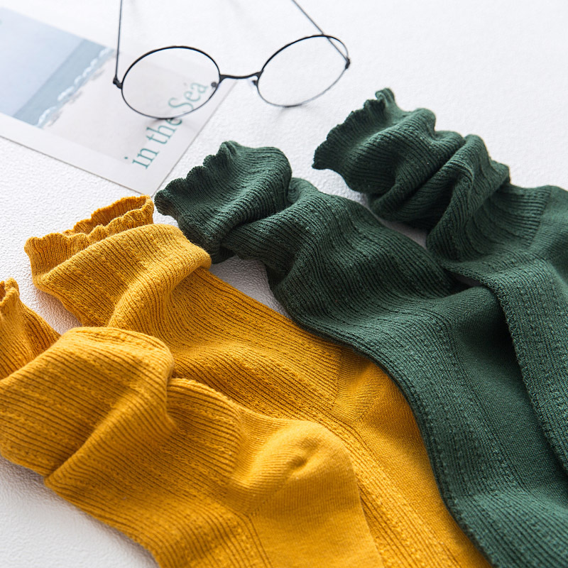 Fashion Female Socks Color Ruffles Women Socks Cotton 2019 Autumn Trend Breathable Brief Elastic Long Cute Cotton Socks Women
