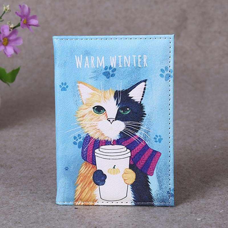 4 kolory śliczne z kotami zwierzętami akcesoria podróżne etui na paszport PU skóra paszport podróże pokrowiec etui na karty etui na identyfikator 14cm * 9.6cm