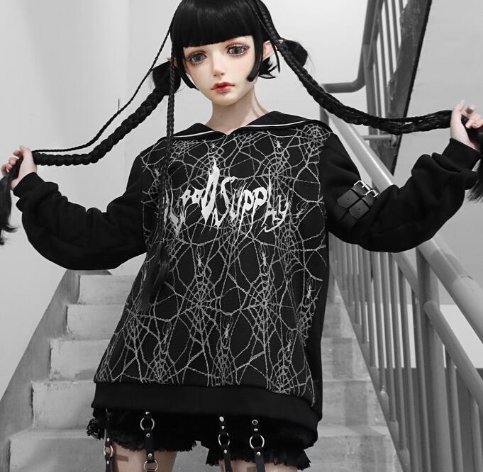 Новое поступление японский осень-зима Горячая с мультяшным принтом для девочек Толстовка свободного кроя, в стиле панк, готика, пуловер с ка...