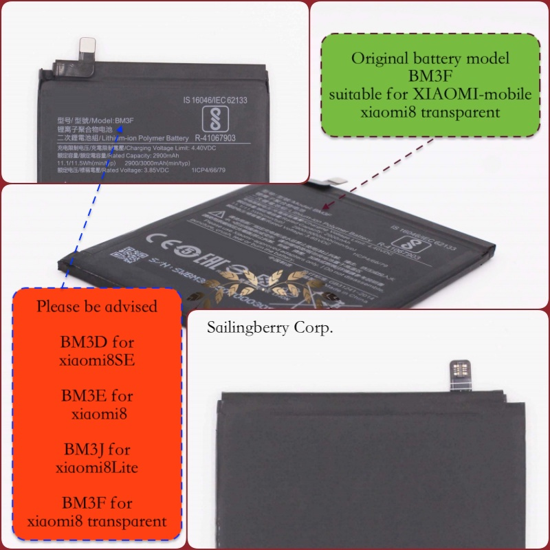 Original battery suitable for xiaomi8 / MI8(transparent)with battery model BM3F(It is safe to check before placing order image