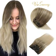 Hair-Extensions Human-Hair Clip-On Brown Light Vesunny with Blonde -8a/60 7pcs Double-Weft