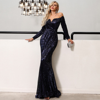 Elegant Evening Party Gown For Women Sequin Sexy Slash Neck Mermaid Formal Party Dress Slim Full Sleeve Robe De Soiree Vestidos