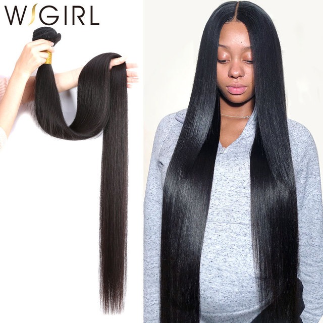 28 30 32 40 Inch 3 Brazilian Straight Hair Weave Bundles Deals Double Drawn Raw Unprocessed Virgin Weaving Human Hair Extension