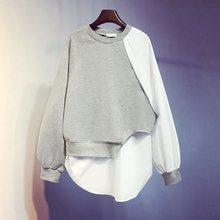 Casual Grey Hoodie 2019 Autumn Patchwork Pullover Loose Female Sweatshirt Tops oversized hoodie  streetwear Sport moletom casual cross at back sleevless hoodie sweatshirt in grey