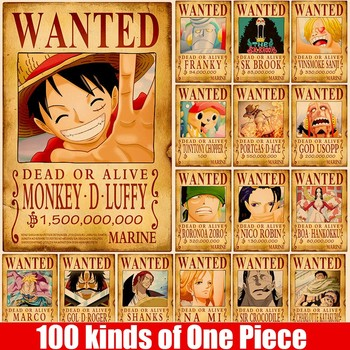 51.5x36cm One Piece Stickers  Home Decor Wall Vintage Paper Wanted Posters Anime Luffy Chopper Kids