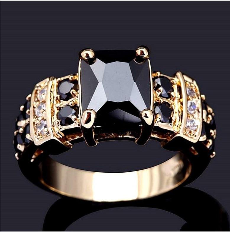SZ 6-10 классические ювелирные изделия 10KT, желтое золото, заполненные черным сапфиром, мужские обручальные кольца