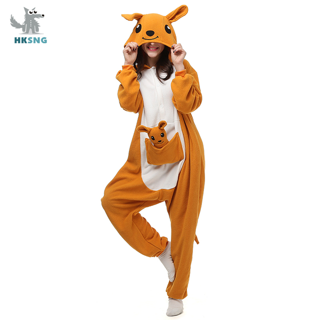 HKSNGสัตว์ผู้ใหญ่Kangaroo Kigurumi OnesieชุดนอนFlannelการ์ตูนครอบครัวParty Halloween COSPLAYเครื่องแต่งกายชุดนอนซิป