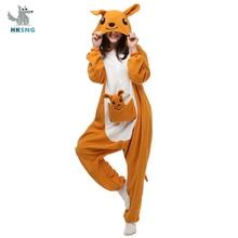 HKSNG Tier Erwachsene Kangaroo Kigurumi Onesie Pyjamas Flanell Cartoon Familie Party HalloweenCosplay Kostüm Nachtwäsche Zipper