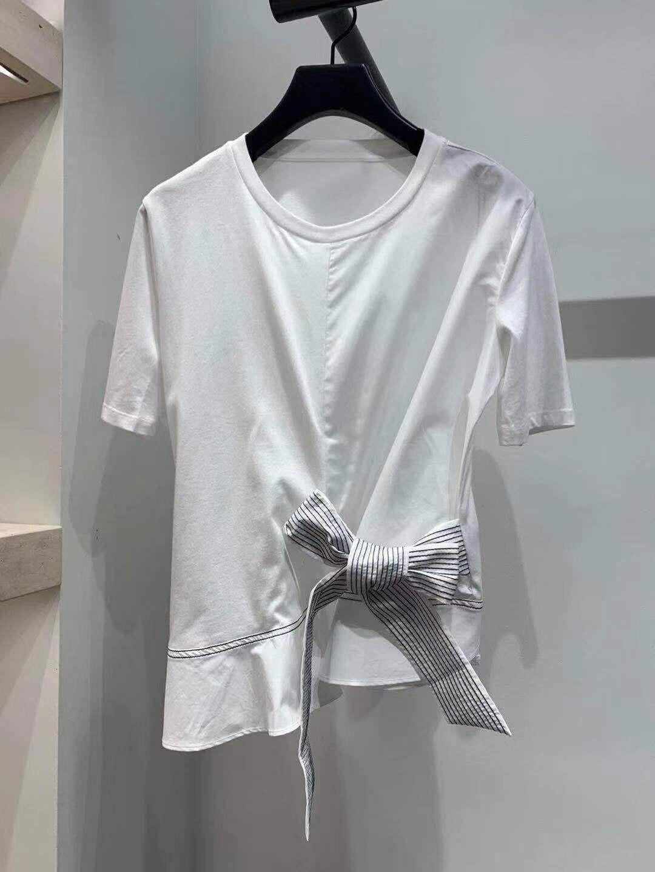 2020 été tempérament dame papillon dentelle décoration pur coton à manches courtes t-shirt femme 23038