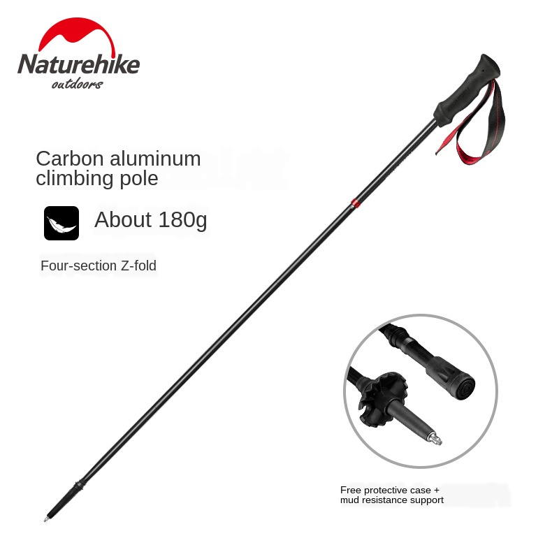 Naturehike Fashion Four-Section Lightweight Carbon Folding Trekking Pole Non-Slip Hiking Wand Climbing Equipment Stick NH19DS001