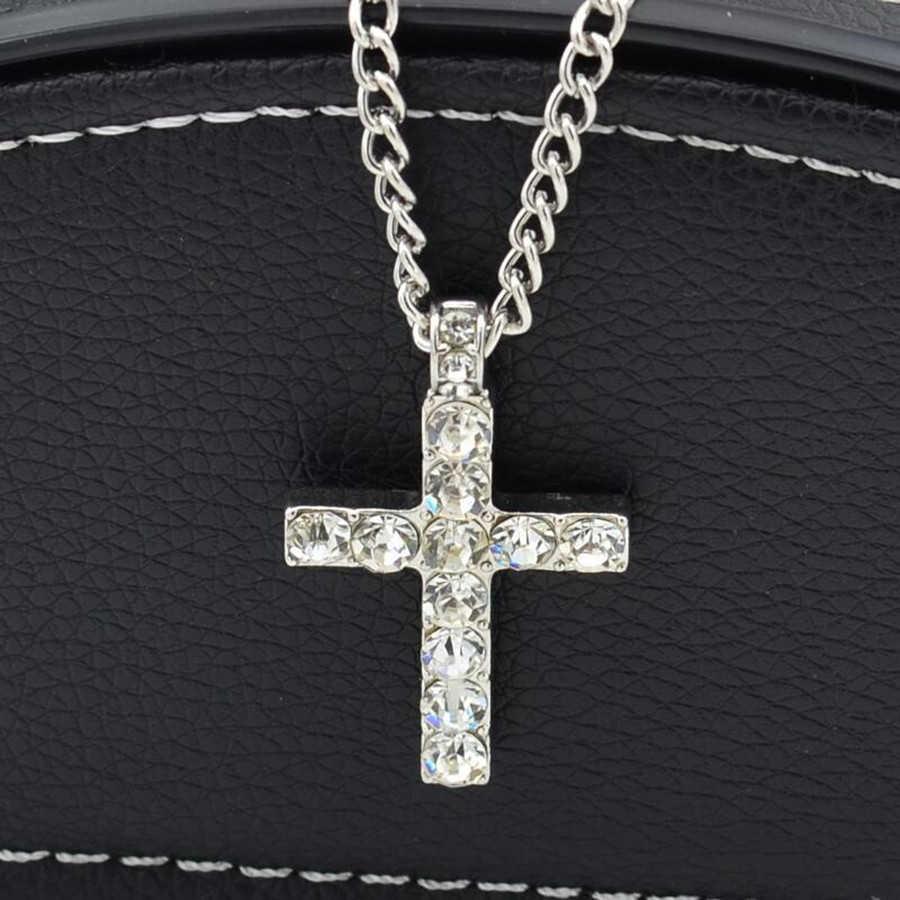 Hip-hopowy wisior z krzyżem w kolorze złotym naszyjnik religijny Iced Out kryształowy naszyjnik Crucfix Jewely dla mężczyzn bezpłatny łańcuch kubański