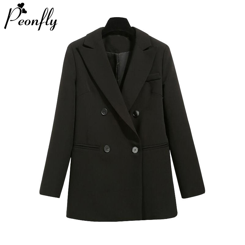 PEONFLY Basic Women Black Blazer Fashion 2020 Spring Formal Office Lady Pocket Jackets Coat Loose Women Blazer Femme