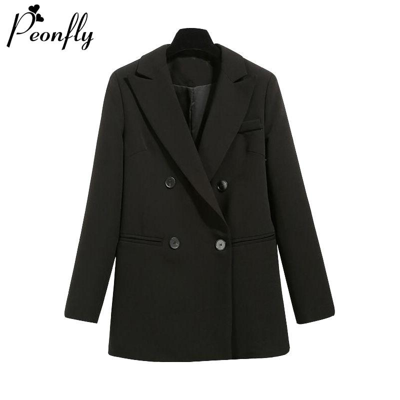 PEONFLY Basic Women Black Blazer Fashion 2020 Spring Formal Office Lady Pocket Jackets Coat Loose Women Blazer Femme