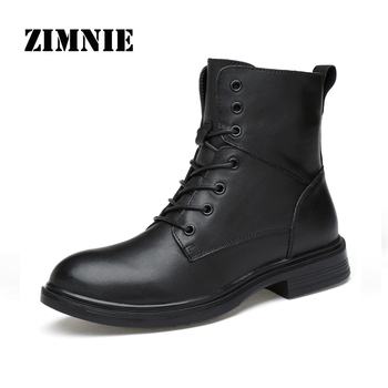 ZIMNIE 2020 NEW Men Leather Boots Ankle Boots Fashion Men Male Brand Leather Quality Footwear Lace Up Motorcycle Men Warm Shoes