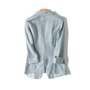 Image 4 - Women Linen Blazers Solid 3/4 Sleeved Single Button Office Lady Blazer 2019 NEW Fall Winter Out wear