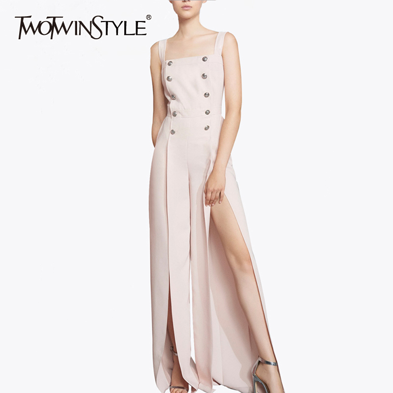 TWOTWINSTYLE Split Women's Jumpsuit Spaghetti Square Collar Sleeveless Wide Leg Pants Female Jumpsuits 2020 Spring Fashion New