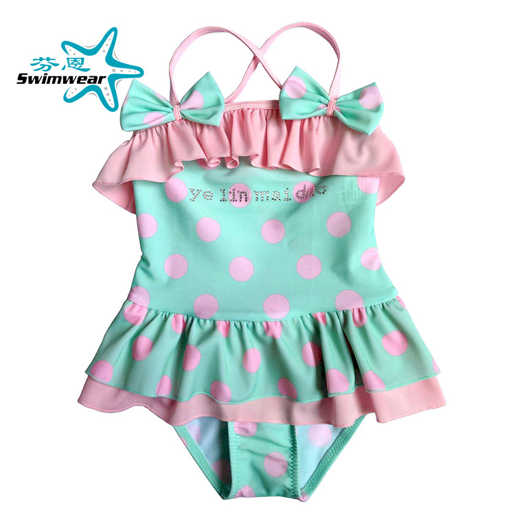 AliExpress Hot Selling Women's Children Green Dotted Bathing Suit Girls Baby Infant Siamese Swimsuit + Pants Cap