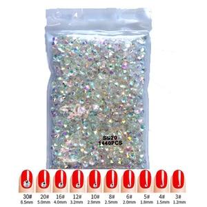 Super Gliter 1440pcs SS3-SS30 Nail Crystals Rhinestones for Nails Flatback Nail Art Decorations Glass Gems Stones Half-beads 3D(China)