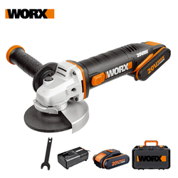 Worx 20V Mini Grinder WX800 115mm Cordless Angle-Grinder Electric Tools Grinding Machine Rechargerable 20V Powershare +Tool Case