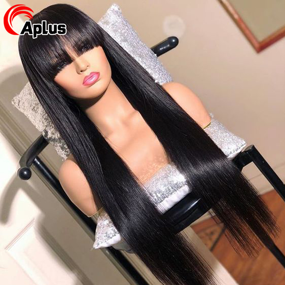 13x6 Lace Front Human Hair Wigs With Bangs 30 Inch Wig Malaysian Straight 360 Lace Frontal Wig With Bang Transparent Lace Wig