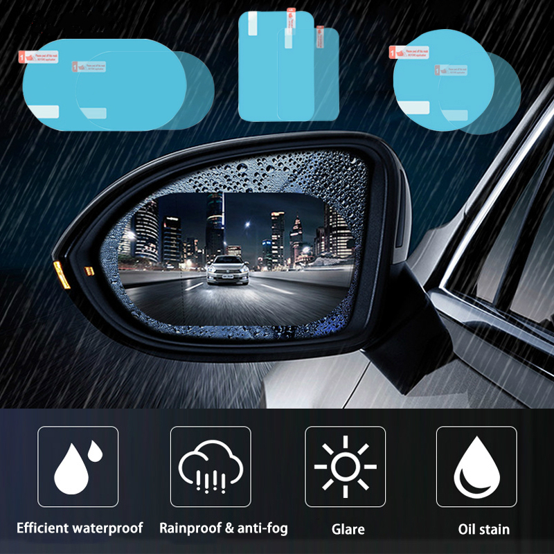 2PCS Rainproof Car Rearview Mirror Sticker Anti-fog Window Foil Clear Protective Film Rain Shield Waterproof Auto Car Stickers