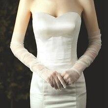 1 пара длинных тюлевых перчаток эластичные гибкие перчатки Простые перчатки для невесты до локтя вечерние аксессуары WLF9081