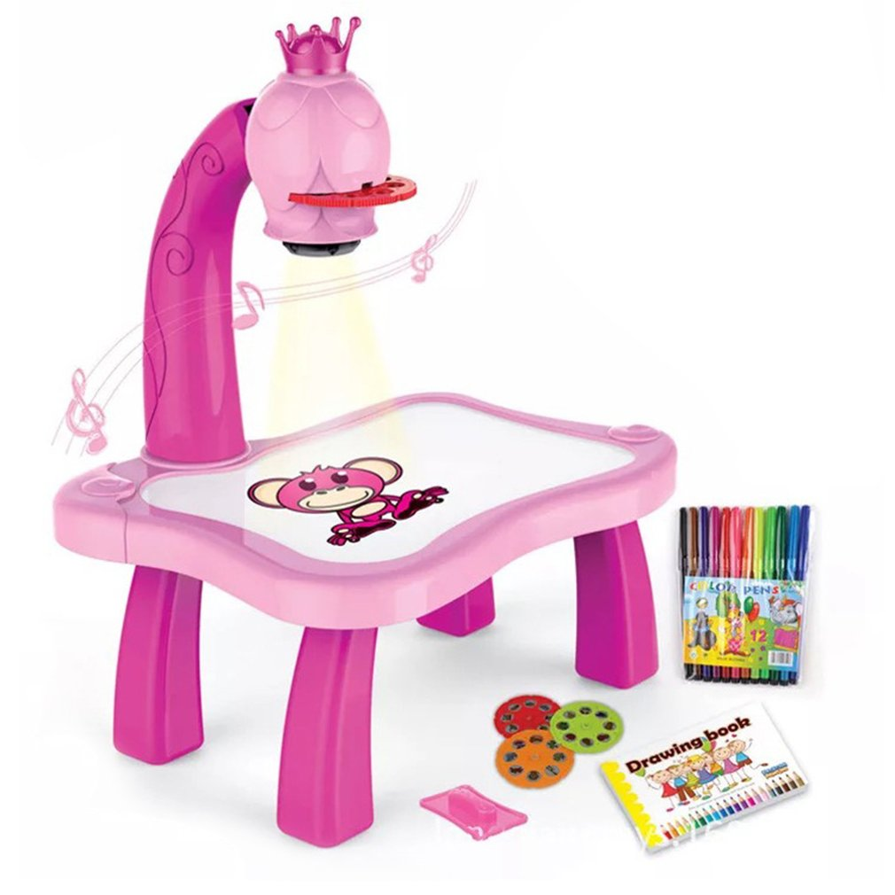 Kids Learn Desk With Smart Projector Painting Learning Table Toy With Light Music Children Educational Drawing Table Girls Gift