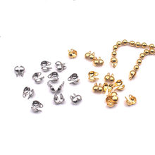 100pcs/lot 316L Stainless Steel Crimps Beads End Clasp Connector for DIY Handmade Round Ball Beaded Chain Jewelry Making Finding