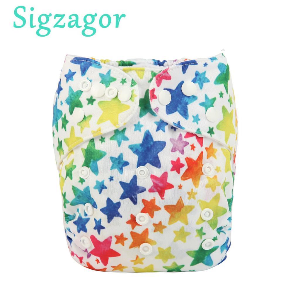 [Sigzagor] pañal de tela con bolsillo para bebé reutilizable lavable ajustable 3 kg-15 kg