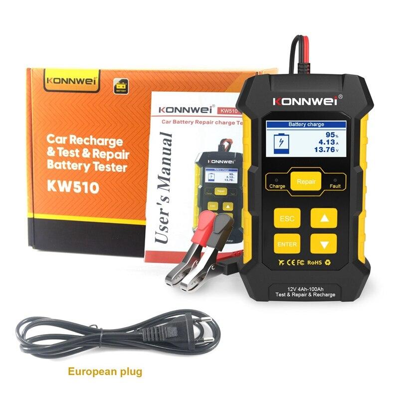 KONNWEI KW510 12V Car Recharge Tool Car Battery Tester for 12V Car Test Repair Recharge Battery Tester EU Plug
