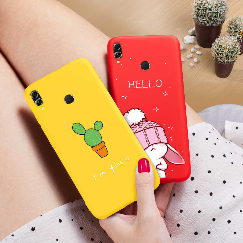 Cute Case For Huawei Honor 8x Case Silicone Cover 3D Animal Relief Shockproof Bumper For Huawei Honor 9 10 Lite Y6 Y9 2019 Case
