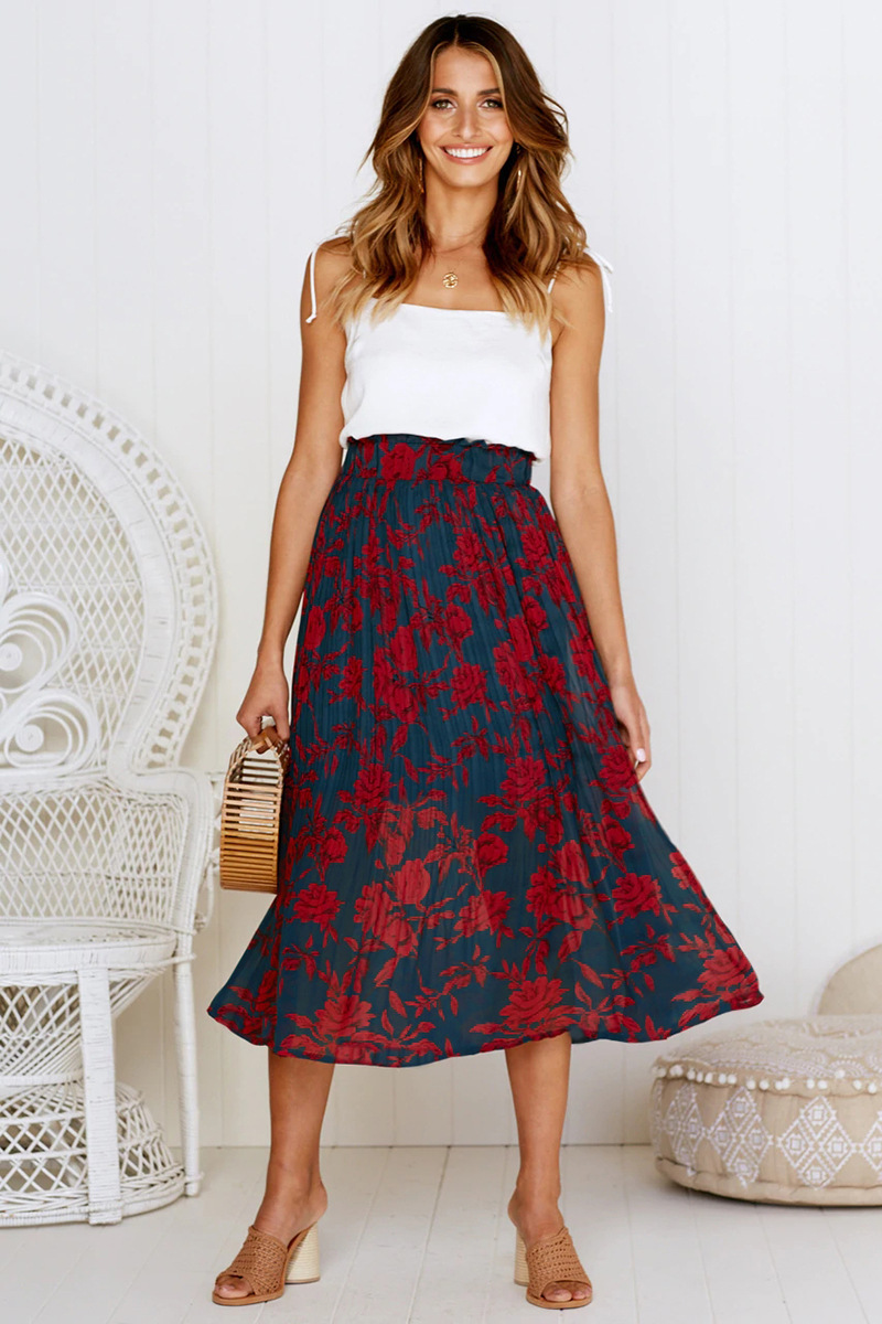 H6d8cc372e105402189eea44c47e82554O - Summer Casual Chiffon Print Pockets High Waist Pleated Maxi Skirt Womens Long Skirts For Women