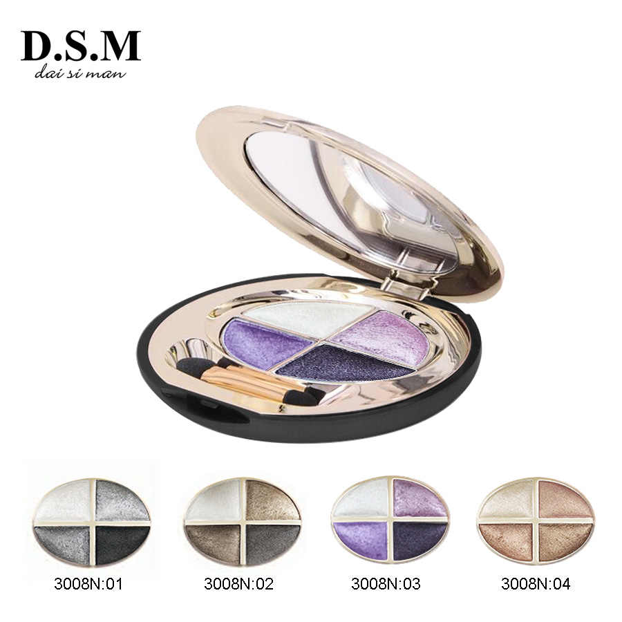 D.s.m Baru Mineralize Eye Shadow 4 Warna Tahan Air Eyeshadow Makeup Logam Bercahaya Sempurna Warna Eyeshadow Palet