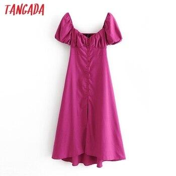 Tangada 2021 fashion women solid hotpink dress pleated puff short sleeve ladies casual midi dress vestidos 3H671 1