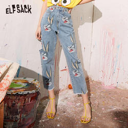 Elfsack футболка синего цвета с изображением персонажей мультфильмов Высокая талия мыть Для женщин джинсы 2020 весенние рваные с прямыми отверс...