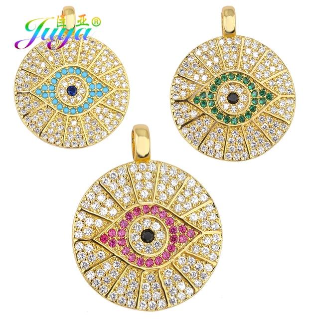 Juya DIY Gold Enamel Evil Eye Charms Multicolor Rainbow Crystal Love Heart Lips Hamsa Charms For Handmade Pendant Jewelry Making