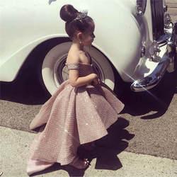 Розовое блестящее платье без рукавов с цветочным узором для девочек платья для первого причастия с открытыми плечами для девочек 2019