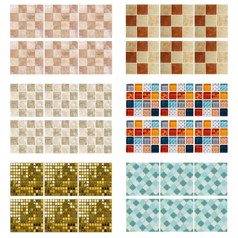 20*20cm 6pcs Kitchen Waterproof Anti Oil Tiles Mosaic Wall Stickers Bathroom Toilet PVC Heat Resistance Adhesive Decor