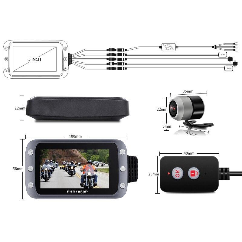 GreenYi WiFi Motorcycle DVR Dash Cam 1080P+1080P Full HD Front Rear View Waterproof Motorcycle Camera GPS Logger Recorder Box 5