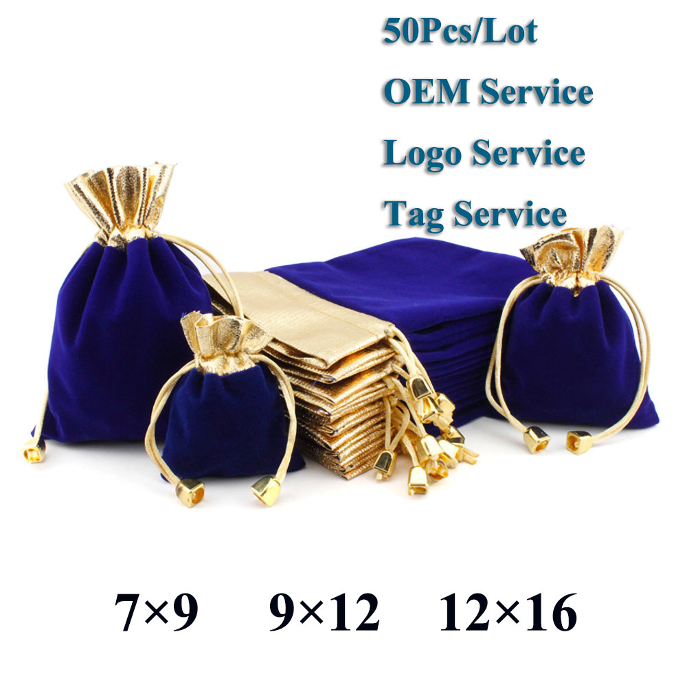 50Pcs/Lot Multi Size Elegant Red Velvet Pouch Gift Drawstring Pocket Bag Wedding Candy Jewlery Packing Bag Can Customized Logo