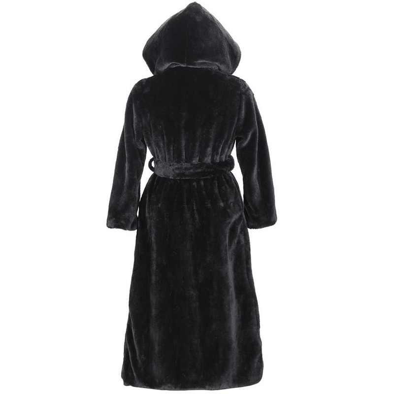 Jesienno-zimowa nowy sztuczny płaszcz ze sztucznego futra z kapturem bawełny wyściełany długi pluszowy płaszcz damski płaszcz kobiety odzież sznurowane czarna kurtka