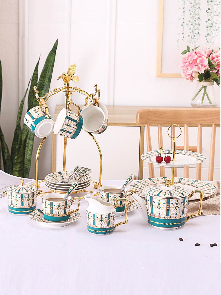 European Style Small Luxury Coffee Cup Set British Style Coffee Cup & Saucer Set Vintage Printed Coffee Set China