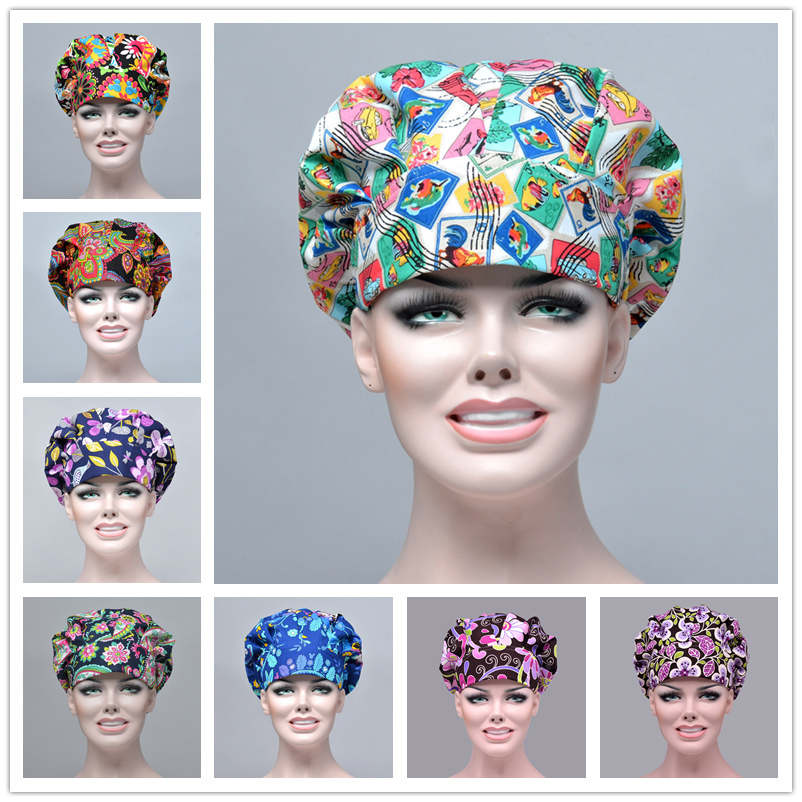 7 Color Bouffant Chef Caps Chef Surgical Work Hat Nurse Doctor Hospital Fashion Cap Cotton Adjustable Long Hair Hats