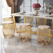 20% современный золотой туалетный стул в форме барабана, железный стул, круглая скамейка для обуви, для гостиной, столовой, черный/белый/золотистый стул