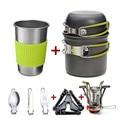 Алюминиевый сплав, походная посуда для походов, походная посуда для пикника, Туристическая посуда, набор со складной ложкой, мини газовая пл...