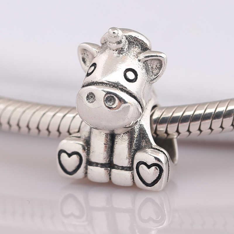 Auténtico S925 cuentas para bricolaje de joyería los encantos del unicornio se ajustan a la pulsera Pandora brazalete Animal de dibujos animados encanto