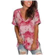 Mulheres camisetas senhoras verão mais tamanho camisetas verano mujer gradiente cor com decote em v manga curta blusa praia topos