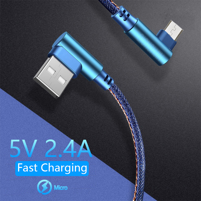 Micro <font><b>Usb</b></font> Cable For Samsung S7 Huawei Xiaomi Redmi HTC <font><b>0.25</b></font> 1 2M Fast Charging Data Sync <font><b>USB</b></font> Cable 90 Degree Elbow Charger Cord image