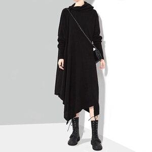 Image 3 - מוצק שחור אישה סתיו חורף ארוך אסימטרית סרוג סוודר שמלה מלא שרוול בתוספת גודל למתוח גבירותיי שמלת Robe סגנון 1803