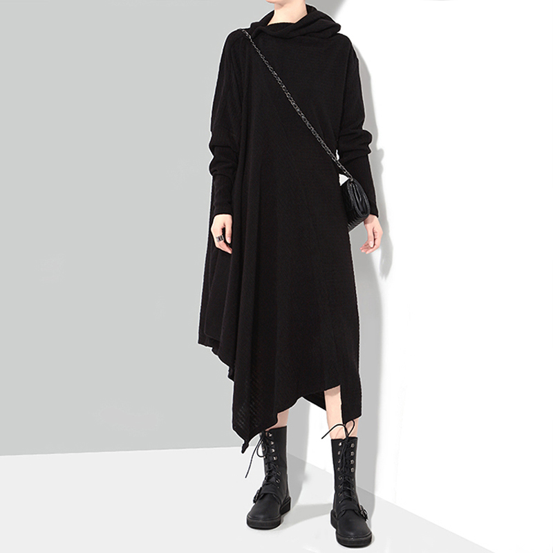Image 3 - New 2019 Korean Style Women Winter Black Knitted Sweater Dress 